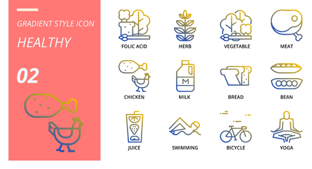 Gradient icon pack for hygiene routine, folic acid, herb, vegetable, meat, chicken, milk, bread, bean, juice, swimming, bicycle, yoga.