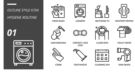 Outline icon pack for hygiene routine, hand wash, laundry, watching tv, sanitary napkin, hair washing, contact lens case, clean dish, toilet paper, comb, toothpaste, cleaning day, hair dryer.