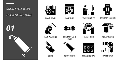 solid icon pack for hygiene routine, hand wash, laundry, watching tv, sanitary napkin, hair washing, contact lens case, clean dish, toilet paper, comb, toothpaste, cleaning day, hair dryer.