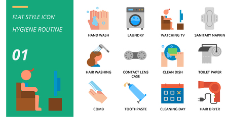Flat icon pack for hygiene routine, hand wash, laundry, watching tv, sanitary napkin, hair washing, contact lens case, clean dish, toilet paper, comb, toothpaste, cleaning day, hair dryer.