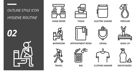 Outline icon pack for hygiene routine, hand dryer, tissue,electric shaver, perfume, bathroom, appointment book, urinal, wake up, travel, bin, clothes hanger, moisturizer. Banque d'images - 106607081