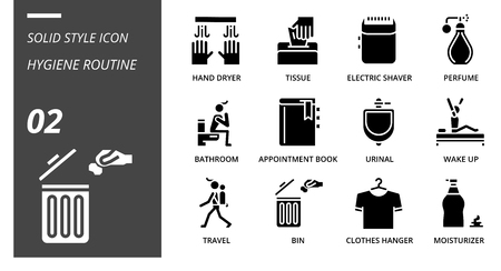 Solid icon pack for hygiene routine, hand dryer, tissue,electric shaver, perfume, bathroom, appointment book, urinal, wake up, travel, bin, clothes hanger, moisturizer. Illustration