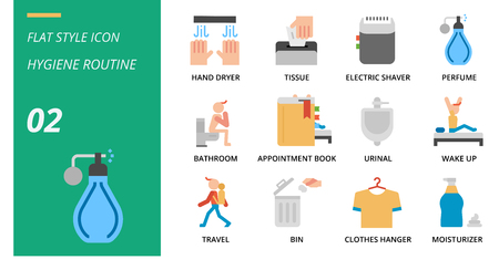 Flat icon pack for hygiene routine, hand dryer, tissue,electric shaver, perfume, bathroom, appointment book, urinal, wake up, travel, bin, clothes hanger, moisturizer. Banque d'images - 111915032