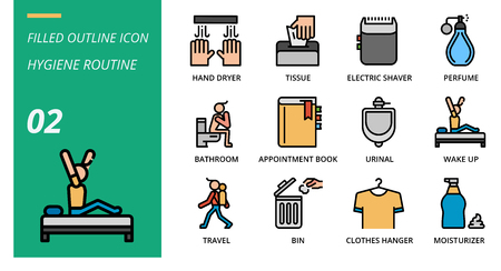 Filled outline icon pack for hygiene routine, hand dryer, tissue,electric shaver, perfume, bathroom, appointment book, urinal, wake up, travel, bin, clothes hanger, moisturizer. Banque d'images - 111915033