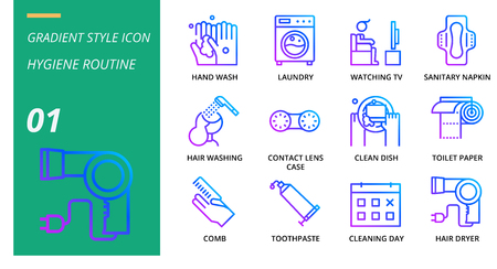 Gradient icon pack for hygiene routine, hand wash, laundry, watching tv, sanitary napkin, hair washing, contact lens case, clean dish, toilet paper, comb, toothpaste, cleaning day, hair dryer.