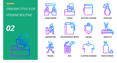 Gradient icon pack for hygiene routine,hand dryer, tissue,electric shaver, perfume, bathroom, appointment book, urinal, wake up, travel, bin, clothes hanger, moisturizer. Banque d'images - 111915036