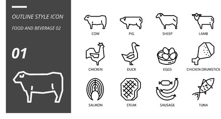 Outline icon pack for food and beverage, cow, pig, sheep, lamb, chicken, duck, eggs, chicken drumstick, salmon, steak, sausage, tuna