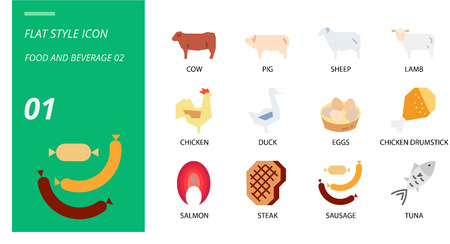 Flat icon pack for food and beverage, cow, pig, sheep, lamb, chicken, duck, eggs, chicken drumstick, salmon, steak, sausage, tuna.