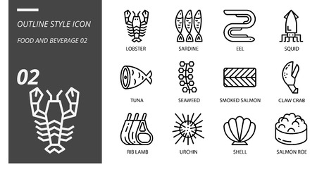Outline icon pack for food and beverage, lobster, sardine, eel, squid, tuna, seaweed, smoked salmon, claw crab, rib lamb, urchin, shell, salmon roe. Ilustração