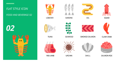 Flat icon pack for food and beverage, lobster, sardine, eel, squid, tuna, seaweed, smoked salmon, claw crab, rib lamb, urchin, shell, salmon roe.