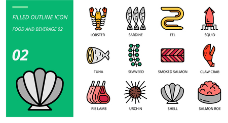 Filled outline icon pack for food and beverage, lobster, sardine, eel, squid, tuna, seaweed, smoked salmon, claw crab, rib lamb, urchin, shell, salmon roe.