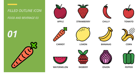 Filled outline icon pack for food and beverage, apple, strawberry, chilli, tomato, carrot, lemon, bananas, corn, watermelon, raspberry, onion, pepper.
