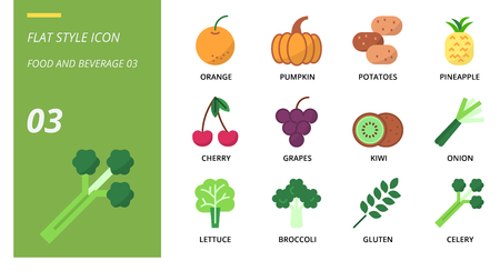 Flat icon pack for food and beverage, orange, pumpkin, potatoes, pineapple, cherry, grapes, kiwi, onion, lettuce, broccoli, gluten, celery.