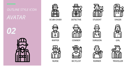 Outline  icon pack . Icons for avatars, scuba diver, detective, student, singer, rapper, cowboy, surgeon, girl, nurse, cyclist, runner, traveller.