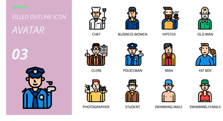 filled outline  icon pack . Icons for avatars, chef,business women, hipster, old man, clerk, policeman, man, fat boy, photographer, student, swimming male, swimming female. Stok Fotoğraf - 111181899