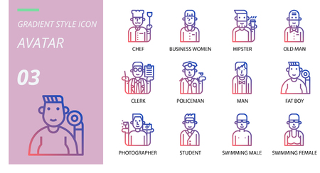 gradient adventure icon pack . Icons for avatars, chef,business women, hipster, old man, clerk, policeman, man, fat boy, photographer, student, swimming male, swimming female.