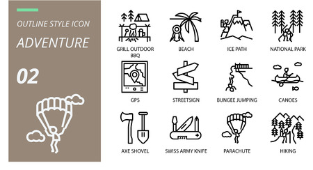 Outline icon pack . Icons for adventure, grill, outdoor, beach,ice path,national park,gps,streetsign,bungee jumping,canoes,axe shovel,swiss army knife,parachute,hiking for websites and mobi