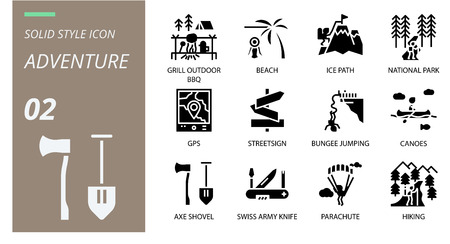 Solid icon pack . Icons for adventure, grill, outdoor, beach,ice path,national park,gps,streetsign,bungee jumping,canoes,axe shovel,swiss army knife,parachute,hiking for websites and mobi Illustration