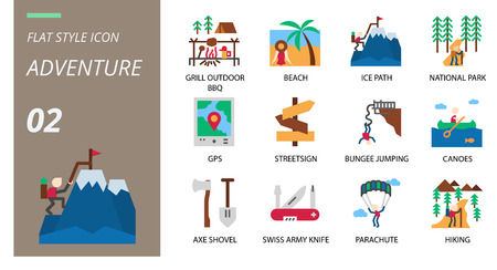 flat icon pack . Icons for adventure, grill, outdoor, beach,ice path,national park,gps,streetsign,bungee jumping,canoes,axe shovel,swiss army knife,parachute,hiking for websites and mobi Illustration