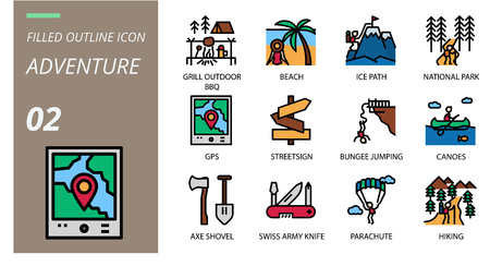 filled outline icon pack . Icons for adventure, grill, outdoor, beach,ice path,national park,gps,streetsign,bungee jumping,canoes,axe shovel,swiss army knife,parachute,hiking for websites and mobi Illustration