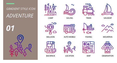 gradient adventure icon pack . Icons for adventure, camp, sailing, train,sailingboat,balloon,auto mobile,mountain,bakcpack,location,map,observation for websites and mobile websites and apps. Illustration