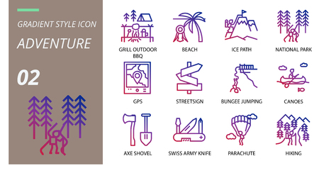 gradient icon pack . Icons for adventure, grill, outdoor, beach,ice path,national park,gps,streetsign,bungee jumping,canoes,axe shovel,swiss army knife,parachute,hiking for websites and mobi Stock Vector - 111181906