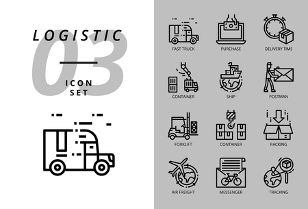 Icon pack for logistics , fast truck, purchase, delivery time, forklift, container, packing, container, ship, postman, airfreight, bike messenger, tracking. Illustration