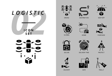 Icon pack for logistic, drone delivery, Illustration
