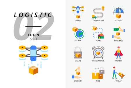 Icon pack for logistics , drone delivery, destination, keep dry, global logistic, home, purchase, secure, delivery time, protect, delivery, safe, trolly.