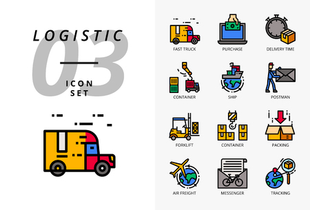 Icon pack for logistics , fast truck, purchase, delivery time, forklift, container, packing, container, ship, postman, airfreight, bike messenger, tracking. Çizim