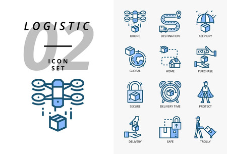 Icon pack for logistics , drone delivery, destination, keep dry, global logistic, home, purchase, secure, delivery time, protect, delivery, safe, trolly. Stock Vector - 124713960