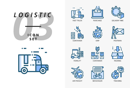 Icon pack for logistics , fast truck, purchase, delivery time, forklift, container, packing, container, ship, postman, airfreight, bike messenger, tracking. Stock Illustratie
