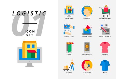 Icon pack for e-commerce, online shop account shopping cart, pay credit promotion Illusztráció