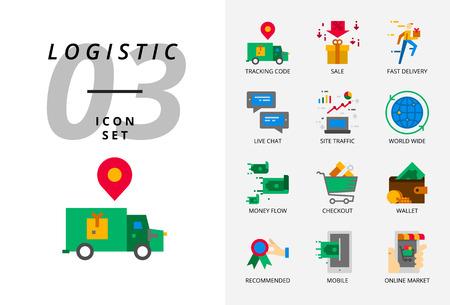 Icon pack for e-commerce, tracking code, sale, fast delivery, money flow, checkout, wallet, live chat, site traffic, world wide, mobile, online market. Illusztráció