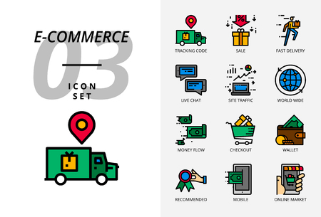Icon pack for e-commerce, tracking code, sale, fast delivery.