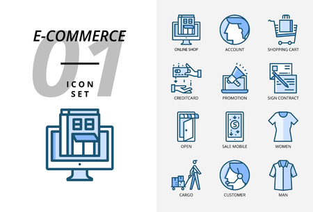 Icon pack for e-commerce, online shop, account, shopping cart, pay credit promotion