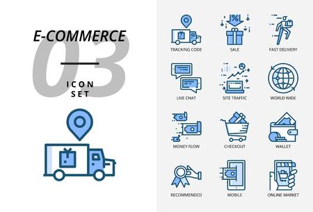 Icon pack for e-commerce, tracking code, sale, fast delivery Illusztráció
