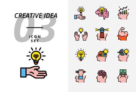 Icon pack for creative idea brainstorm idea creative Illusztráció