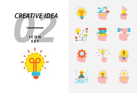 Icon pack for creative idea, brainstorm, idea, creative, bulb, travel, road, trip, plan, book, education, handshake, business, management, pencil.