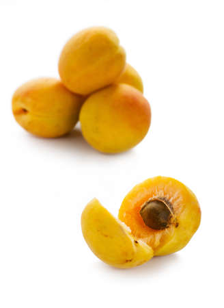 Apricots isolated on white with clipping path
