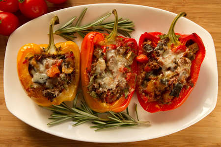 Baked stuffed red bell pepper, top view