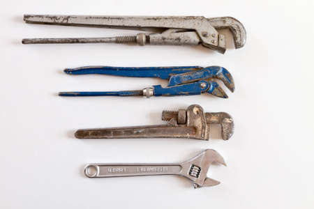 Group of plumbers pipe wrench on white Banco de Imagens