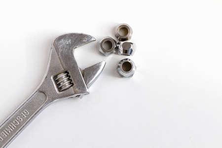 Adjustable spanner  monkey wrench  on white background