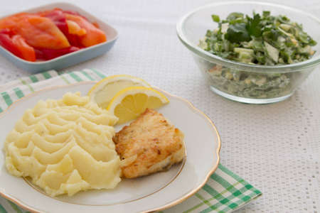 Roast fish steak fresh with mashed potatoes