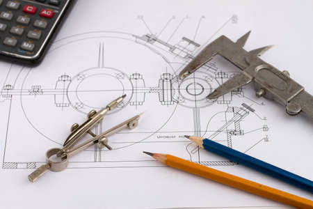 Industrial drawing detail and several drawing tools Stock Photo