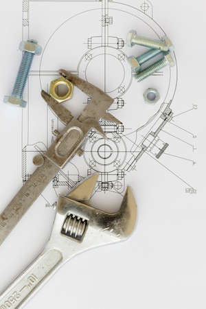 Mechanical drawing and tools photo