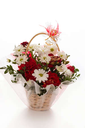 gebera: Colorful flower bouquet arrangement in vase isolated on white