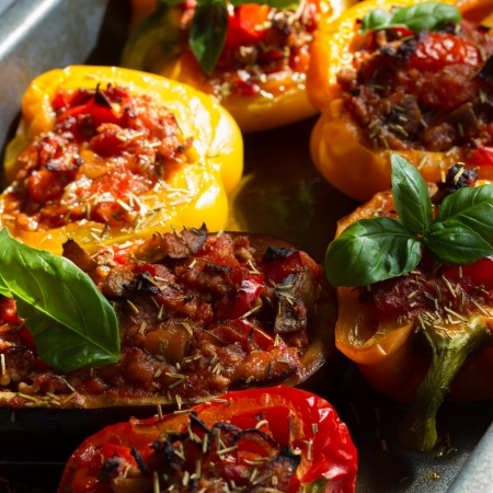 Baked stuffed red bell pepper  Stock Photo