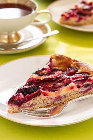 Delicious plum cake with organic plum
