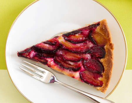 Delicious plum cake with organic plum, top view Stock Photo